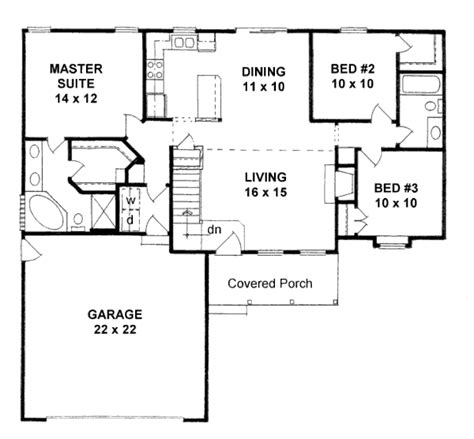 3 bedroom 2 bathroom traditional style house plan 3 beds 2 00 baths 1245 sq