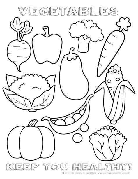 coloring page vegetables fruits and vegetables coloring pages for kids printable