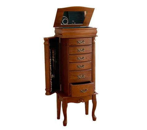 qvc jewelry armoire 40 oak finish standing jewelry armoire qvc com