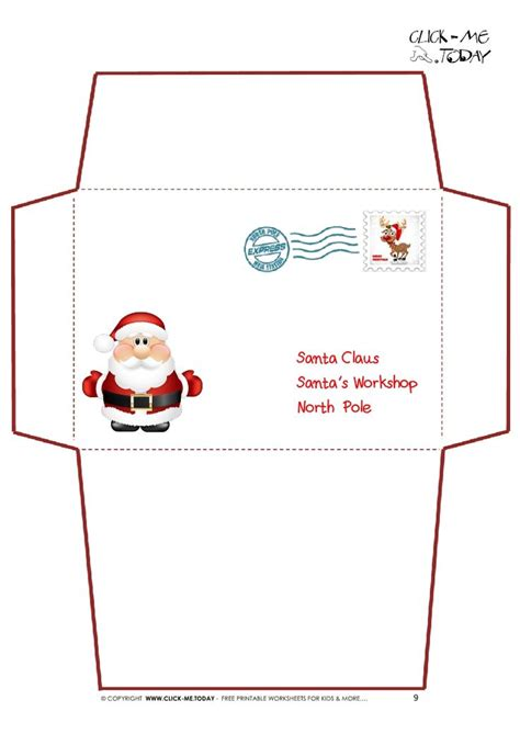 printable letter to santa claus envelope template cute