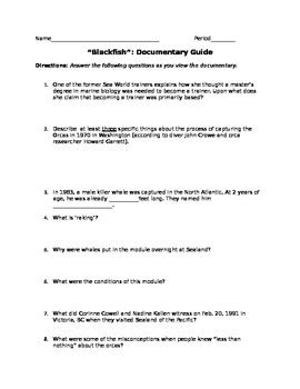 up film study questions quot blackfish quot documentary film guide w answer key included