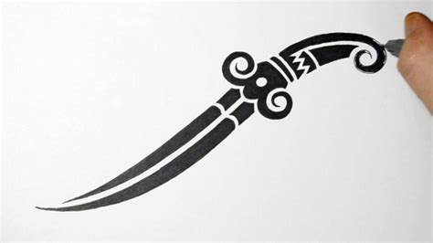 tribal tattoos knife drawing a tribal dagger knife design speeded up