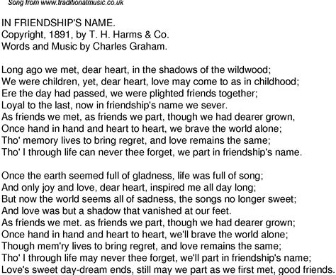 song for friends time song lyrics for 46 in friendships name