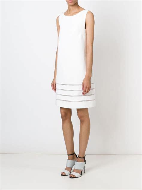Febiola Dress Stripe lyst fendi sheer striped hem dress in white