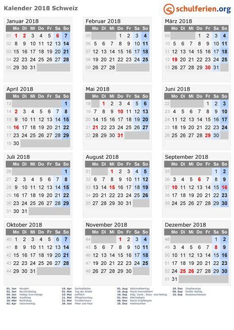 Kalender 2018 Schweiz Mit Feiertagen Kalender 2018 Schweiz