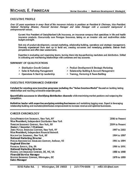 Insurance Executive Sle Resume by Insurance Resume Exle Executive Resume Resume Exles And Insurance