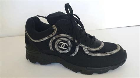 black chanel sneakers nib chanel 14b black trainers sneakers white black cc logo