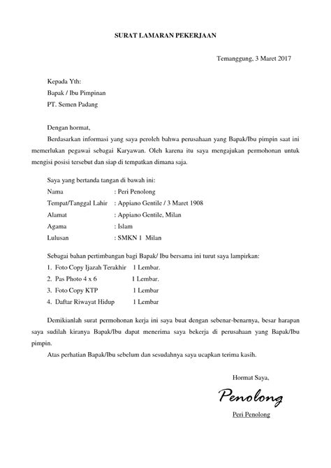 surat lamaran kerja kreatif ben