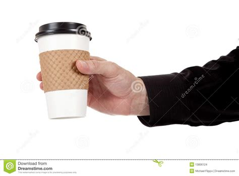 Man Holding A Paper Coffee Cup On White Stock Photo   Image: 13806124