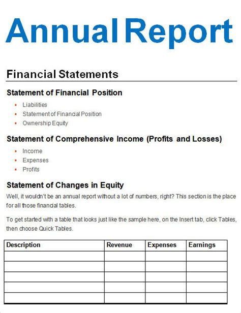 simple annual report template simple annual financial report template with form and