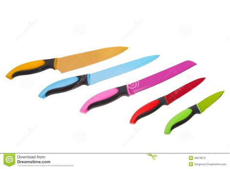 set of kitchen knives royalty free stock photo image 785475 set of multicolored fun for kitchen knives on a white
