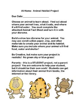 Parent Letter For Diorama animal habitat project make a diorama by cheryl bowman tpt
