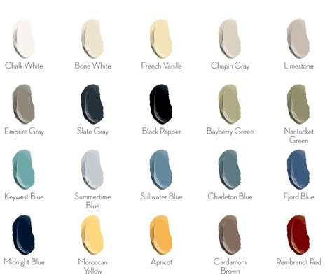 general finishes chalk style paint color chart