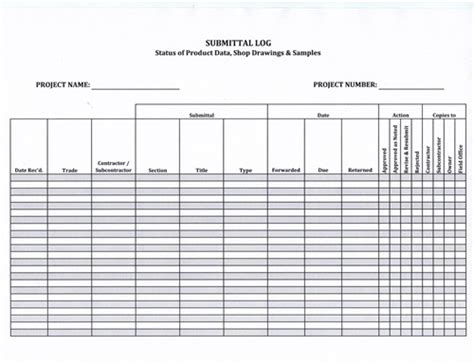 shop drawing log template submittal log form 5 99 now