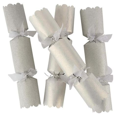 buy tesco luxury silver white christmas crackers 6 pack