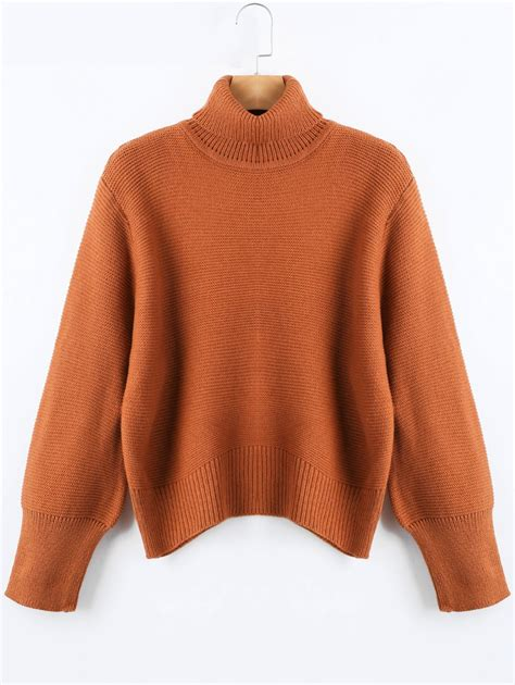 And Sweater oversized turtleneck knit sweater in brown one size
