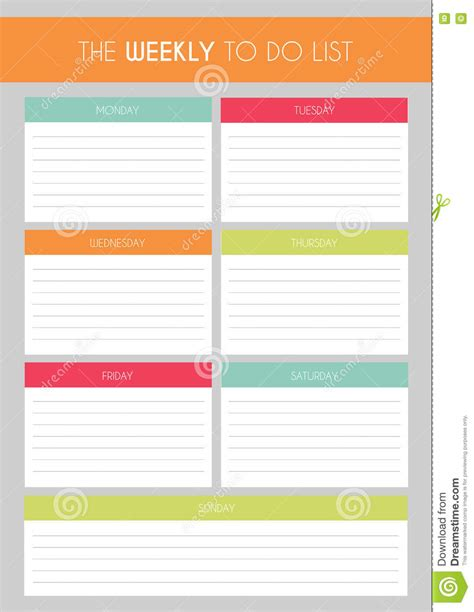 weekly to do list template weekly to do list template
