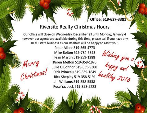 merry christmas from riversite realty holiday hours