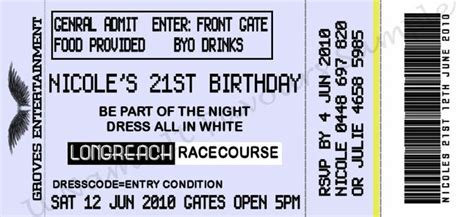 gig ticket template 1000 ideas about 21st invitations on 21st