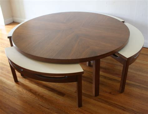 table with hidden chairs mid century modern game coffee table with hidden chairs