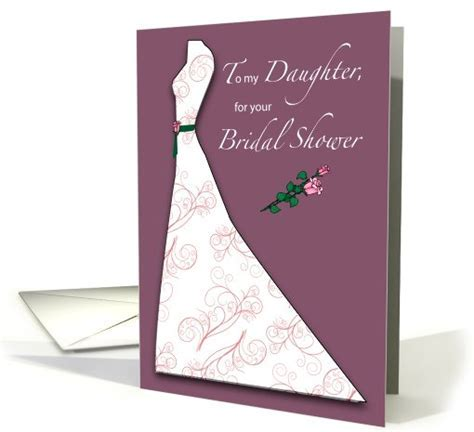 Daughter, Bridal Shower, Wedding Dress, Roses, Plum card
