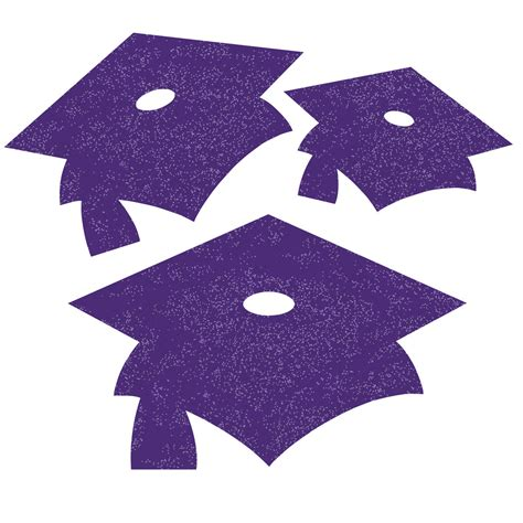 purple glitter mini mortarboard graduation cutouts