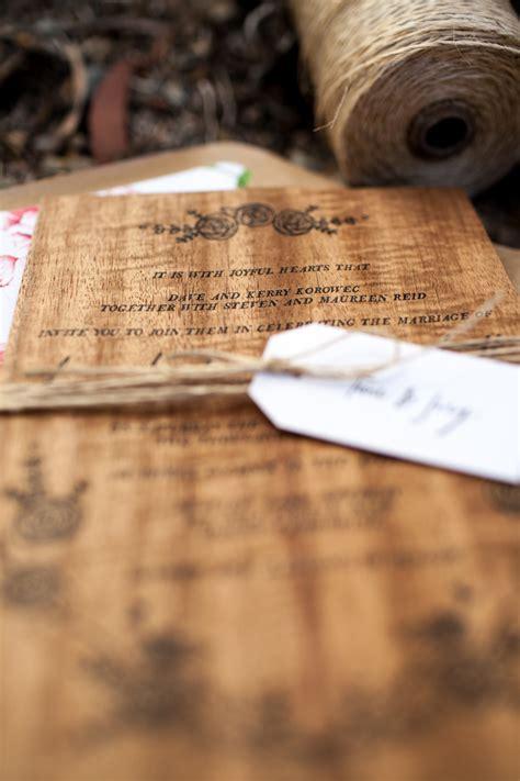 matt s rustic floral wood veneer wedding invitaions