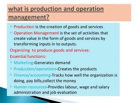 Scope Of Operations Management In Mba by Production And Operation Management