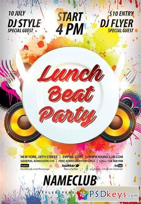 Lunch Beat Party Psd Flyer Template Facebook Cover 187 Free Download Photoshop Vector Stock Free Luncheon Flyer Template