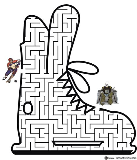 printable winter maze the hockey player through the skate shaped maze to take a
