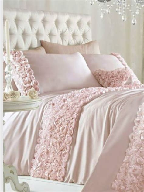 pink double duvet quilt cover bed set bedding raised rose
