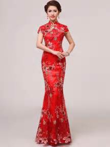 Red sequined ankle length mermaid chinese qipao cheongsam wedding