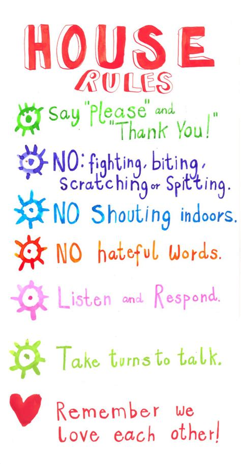 house rules for kids house rules for children chart image search results