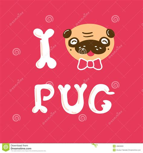 i pugs i pug vector illustration card stock vector image 49859900