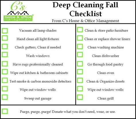 deep clean house fall house cleaning checklist c s home office management