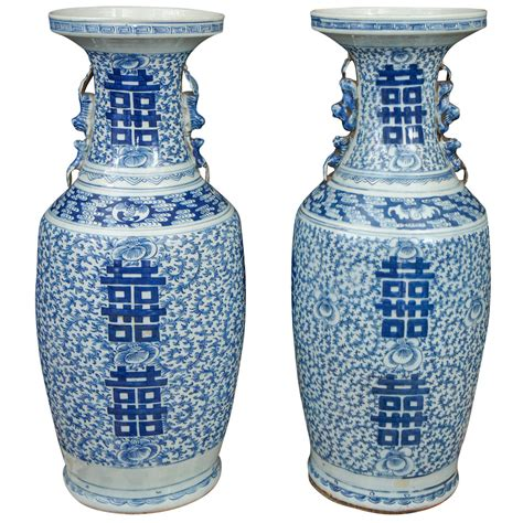 asian vases pair of 19th century porcelain blue and white