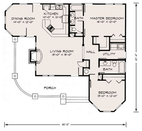 Farmhouse Style House Plan   2 Beds 2.00 Baths 1270 Sq/Ft Plan #140 133