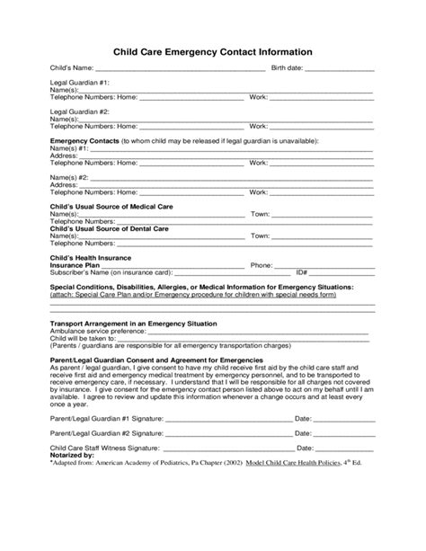 Guardian Number 911 Child Care Emergency Contact Form Indiana Free