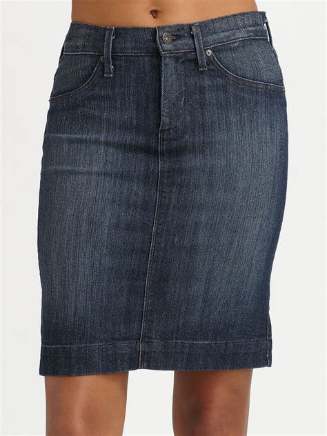 peggy denim pencil skirt in blue lyst