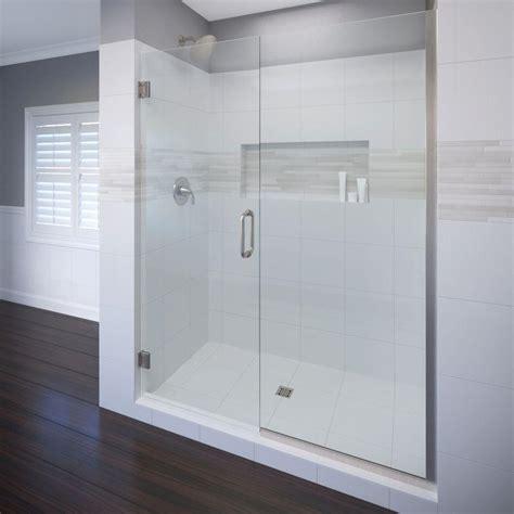 Basco Frameless Shower Door Basco Celesta 47 In X 76 In Semi Frameless Pivot Shower Door In Brushed Nickel With Handle
