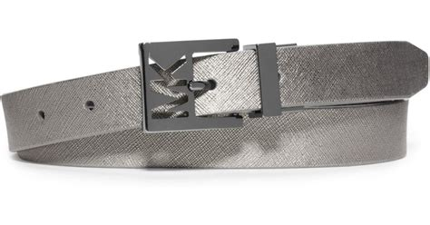 michael kors reversible saffiano leather belt in silver