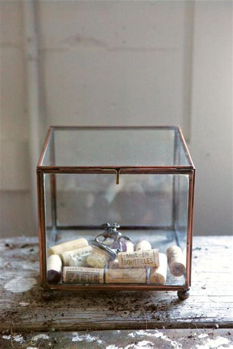 Mise en Bouteilles Copper/Glass Wine Cork Display Box