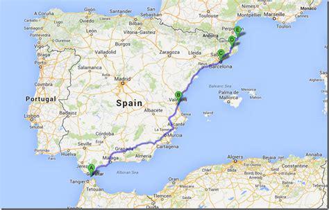 southern spain map european trip update southern spain to leg
