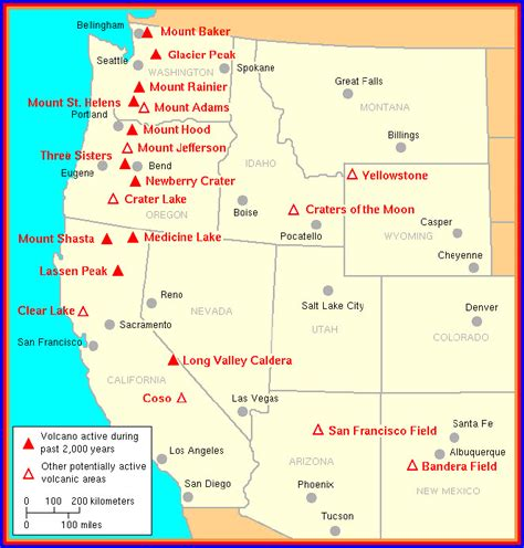 map us volcanoes potetially active volcanoes of the western united states