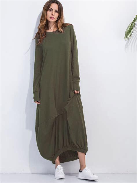 Hem Cooling Army Promo elastic hem shift maxi dress shein sheinside