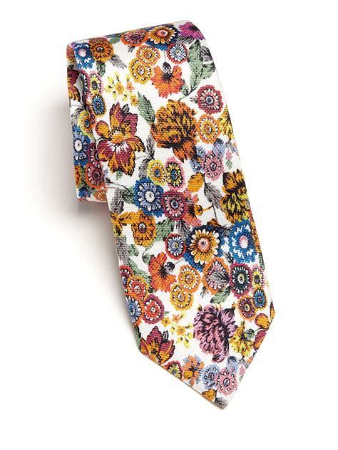 lyst eton of sweden flower print silk tie for