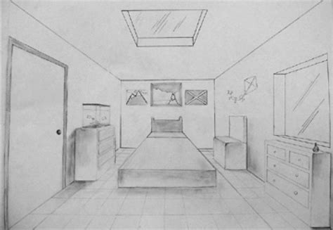 bedroom perspective drawing bedroom drawing one point perspective