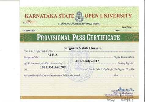 Karnataka Open Mba Fees by Provisional Pass Certifcate