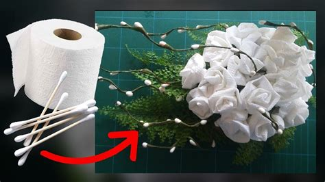 Make Toilet Paper Flowers - cotton buds and toilet paper flower como hacer flores de