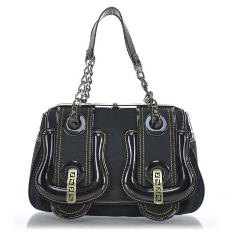 Fendi Vernice Matrix B Bag by Fendi Toile Vernice Patent B Bag Black 31411